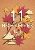 종이 (재료), 페이퍼아트, 달력, 월, 11월, 단풍잎
