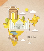 종이 (재료), 페이퍼아트, 지도, 랜드마크, 세계지도, 인도 (인도아대륙), 타지마할