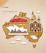 종이 (재료), 페이퍼아트, 지도, 랜드마크, 세계지도, 호주 (오세아니아), 오페라하우스 (엔터테인먼트빌딩)