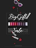그래픽이미지, 편집디자인, 상업이벤트 (사건), 포스터, 세일 (사건), 쇼핑 (상업활동), 선물 (인조물건), 코리아세일페스타, 블랙프라이데이, 립스틱