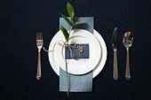 접시, 그릇, 사람없음, 실내, 잎, 테이블, 식탁보, 정찬, 셀러브리티, 축하카드, 골동품 (구식패션), 숟가락, 포크, 식탁용나이프 (커트러리)