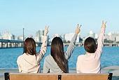 한국인, 한강 (강), 한강공원 (서울), 휴식 (정지활동), 친구, 친구 (컨셉), 함께함 (컨셉), 즐거움 (컨셉), 행복, 행복 (컨셉), 브이사인 (손짓)