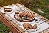 정원, 테이블, 음식, 커피 (뜨거운음료), 라떼, 케이크 (달콤한음식), 와플, 드라이플라워, 커피잔, 식탁보, 레이스 (천), 탑앵글, 포크, 식탁용나이프 (커트러리), 식물, 꽃, 잎, 쿠키, 그릇, 접시, 쟁반 (주방용품), 계절, 가을, 사람없음, 뜨거움 (컨셉), 숟가락
