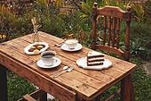 정원, 테이블, 음식, 커피 (뜨거운음료), 라떼, 케이크, 드라이플라워, 커피잔, 탑앵글, 숟가락, 포크, 식물, 꽃, 잎, 쿠키, 그릇, 접시, 계절, 가을, 뜨거움, 사람없음, 의자 (좌석)