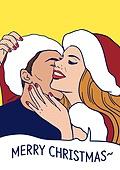 상업이벤트 (사건), 팝아트, 여성 (성별), 쇼핑 (상업활동), 20세기스타일 (스타일), 레트로스타일 (컨셉), 말풍선, 크리스마스 (국경일), 커플