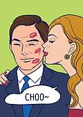 상업이벤트 (사건), 팝아트, 여성 (성별), 쇼핑 (상업활동), 20세기스타일 (스타일), 레트로스타일 (컨셉), 말풍선, 커플, 키스