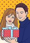 상업이벤트 (사건), 팝아트, 여성 (성별), 쇼핑 (상업활동), 20세기스타일 (스타일), 레트로스타일 (컨셉), 말풍선, 커플, 선물 (인조물건)