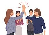 여성 (성별), 비즈니스, 비즈니스우먼, 성공, 하이파이브, 팀워크 (협력)