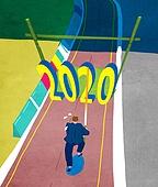 2020년, 새해 (홀리데이), 환호 (말하기), 파이팅 (흔들기), 비즈니스, 화이트칼라 (전문직), 달리기 (물리적활동), 트랙경기 (육상경기), 장대높이뛰기