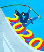 2020년, 새해 (홀리데이), 환호 (말하기), 파이팅 (흔들기), 비즈니스, 화이트칼라 (전문직), 달리기 (물리적활동), 장대높이뛰기