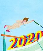 2020년, 새해 (홀리데이), 환호 (말하기), 파이팅 (흔들기), 비즈니스, 화이트칼라 (전문직), 달리기 (물리적활동), 여성 (성별), 장대높이뛰기
