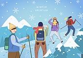 일러스트, 벡터 (일러스트), 겨울, 여행, 플레이 (움직이는활동), 등산