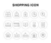 아이콘, 라인아이콘, 픽토그램, 선물상자, 쇼핑백, 쇼핑가방, 지갑