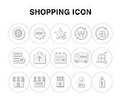 아이콘, 라인아이콘, 픽토그램, 선물상자, 자물쇠, 상점, 스마트폰, 쇼핑