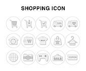 아이콘, 라인아이콘, 픽토그램, 하트, 카메라, 게임기, 쿠폰, 쇼핑