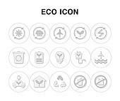 아이콘, 라인아이콘, 픽토그램, 풍차, 건전지, 자동차, 재활용