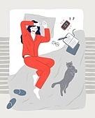 여성, 여성 (성별), 비즈니스우먼, 화이트칼라 (전문직), 라이프스타일 (주제), 밤 (시간대), 피로 (물체묘사), 침대, 고양이 (고양잇과)