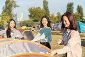 라이프스타일, 공원, 한강공원 (서울), 소풍 (아웃도어), 소풍, 휴양 (컨셉), 텐트, 캠핑, 행복, 조명 (발광), 조명기구 (장비)