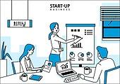 비즈니스, 라인아트 (일러스트기법), 비즈니스미팅 (미팅), 팀워크, 화이트칼라 (전문직)
