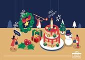벡터 (일러스트), 쇼핑 (상업활동), 상업이벤트 (사건), 크리스마스 (국경일), 얼음결정 (얼음), 크리스마스트리 (크리스마스데코레이션), 여성 (성별), 선물 (인조물건), 온라인쇼핑