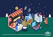 벡터 (일러스트), 쇼핑 (상업활동), 상업이벤트 (사건), 크리스마스 (국경일), 얼음결정 (얼음), 선물 (인조물건), 여성 (성별), 온라인쇼핑
