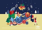 벡터 (일러스트), 쇼핑 (상업활동), 상업이벤트 (사건), 크리스마스 (국경일), 얼음결정 (얼음), 크리스마스트리 (크리스마스데코레이션), 선물 (인조물건), 여성 (성별), 화장품 (몸단장제품), 종 (인조물건), 온라인쇼핑