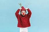 어린이 (나이), 겨울, 크리스마스 (국경일), 루돌프, 뿔, 미소