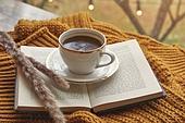 창문 (인조물건), 카페, 계절, 가을, 겨울, 뜨거움 (컨셉), 니트천 (천), 스웨터 (상의), 전구 (전등빛), 테이블, 커피 (뜨거운음료), 커피잔, 책