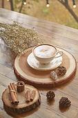 실내, 창문, 카페, 계절, 가을, 겨울, 뜨거움, 니트천, 스웨터, 전구 (전등빛), 테이블, 커피 (뜨거운음료), 커피잔, 책, 나무, 쟁반 (주방용품), 카푸치노, 계피, 안개꽃, 드라이플라워