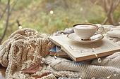 실내, 창문, 카페, 계절, 겨울, 뜨거움, 니트천, 스웨터, 전구 (전등빛), 테이블, 커피 (뜨거운음료), 커피잔, 책, 카푸치노, 거품아트 (카푸치노), 가을, 잎 (식물부분), 단풍잎 (잎)