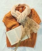 오브젝트 (묘사), 실내, 스튜디오촬영, 계절, 가을, 겨울, 크리스마스 (국경일), 니트천 (천), 스웨터 (상의), 목도리, 책, 뜨거움 (컨셉), 따뜻한옷 (옷), 드라이플라워, 안개꽃