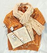 오브젝트 (묘사), 실내, 스튜디오촬영, 계절, 가을, 겨울, 크리스마스 (국경일), 니트천 (천), 스웨터 (상의), 목도리, 책, 뜨거움 (컨셉), 따뜻한옷 (옷), 목화, 목화솜, 식물, 전구 (전등빛)