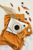 오브젝트 (묘사), 실내, 스튜디오촬영, 계절, 가을, 겨울, 크리스마스 (국경일), 니트천 (천), 스웨터 (상의), 목도리, 탑앵글, 뜨거움 (컨셉), 따뜻한옷 (옷), 커피 (뜨거운음료), 아메리카노, 커피잔, 뜨거운음료 (무알콜음료), 드라이플라워, 안개꽃, 안경, 목화, 목화솜, 솔방울, 낙엽, 단풍잎