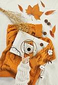 오브젝트 (묘사), 실내, 스튜디오촬영, 계절, 가을, 겨울, 크리스마스 (국경일), 니트천 (천), 스웨터 (상의), 목도리, 탑앵글, 뜨거움 (컨셉), 따뜻한옷 (옷), 커피 (뜨거운음료), 아메리카노, 커피잔, 뜨거운음료 (무알콜음료), 드라이플라워, 안개꽃, 안경, 목화, 목화솜, 솔방울, 낙엽, 단풍잎, 사람손, 한국인, 동양인 (인종), 스마트폰, 휴대폰, 촬영, 카메라, 잡기 (물리적활동), 인스타그램, SNS (기술)