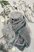 오브젝트 (묘사), 실내, 스튜디오촬영, 계절, 가을, 겨울, 크리스마스 (국경일), 니트천, 스웨터, 목도리, 탑앵글, 뜨거움, 따뜻한옷