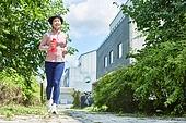 중년여자 (성인여자), 조깅 (운동), 운동, 건강한생활, 미소