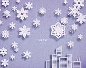 종이 (재료), 페이퍼아트, 눈 (얼어있는물), 겨울, 장난감모빌 (장난감), 얼음결정 (얼음), 도시