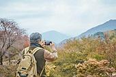 가을, 자연 (주제), 남성, 하이킹 (아웃도어), 여행, 산림욕, 스마트폰, 촬영