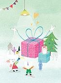 쥐 (쥐류), 캐릭터, 동화, 새해 (홀리데이), 2020년 (년), 쥐띠해 (십이지신), 겨울, 선물 (인조물건)