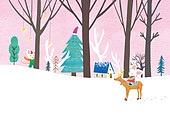 쥐 (쥐류), 캐릭터, 동화, 새해 (홀리데이), 2020년 (년), 쥐띠해 (십이지신), 겨울, 눈 (얼어있는물), 크리스마스트리 (크리스마스데코레이션)