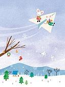 쥐 (쥐류), 캐릭터, 동화, 새해 (홀리데이), 2020년 (년), 쥐띠해 (십이지신), 겨울, 종이비행기, 바람
