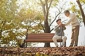 노인 (성인), 가을, 휴식, 공원벤치, 친구 (컨셉), 위로, 미소, 손잡기 (홀딩)