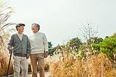 노인 (성인), 걷기 (물리적활동), 미소, 친구 (컨셉), 어깨동무, 마주보기 (위치묘사)