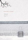 백그라운드, 계절, 겨울, 눈 (얼어있는물), 풍경 (컨셉), 설경, 한국 (동아시아), 기와