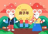 캐릭터, 쥐 (쥐류), 쥐띠해 (십이지신), 쥐띠해, 명절 (한국문화), 상업이벤트 (사건), 한복, 보름달, 청사초롱