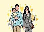 시작, 희망, 화이트칼라 (전문직), 비즈니스, 부부, 아기 (나이), 육아휴직, 육아대디 (아빠)