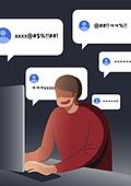 악성댓글 (댓글), 악플러, 범죄, 댓글, 컴퓨터, 말풍선