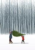 겨울, 카피스페이스 (콤퍼지션), 풍경 (컨셉), 백그라운드, 자연 (주제), 자연풍경, 눈 (얼어있는물), 만년설원 (눈), 크리스마스 (국경일), 크리스마스트리 (크리스마스데코레이션), 나무