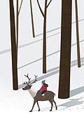 겨울, 카피스페이스 (콤퍼지션), 풍경 (컨셉), 백그라운드, 자연 (주제), 자연풍경, 눈 (얼어있는물), 만년설원 (눈), 숲, 사슴 (발굽포유류), 여자아기