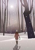 겨울, 카피스페이스 (콤퍼지션), 풍경 (컨셉), 백그라운드, 자연 (주제), 자연풍경, 눈 (얼어있는물), 만년설원 (눈), 뒷모습, 여성 (성별), 밤 (시간대), 달 (하늘)